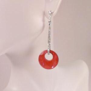 Silver Cubic Zirconia and Red Swaro..
